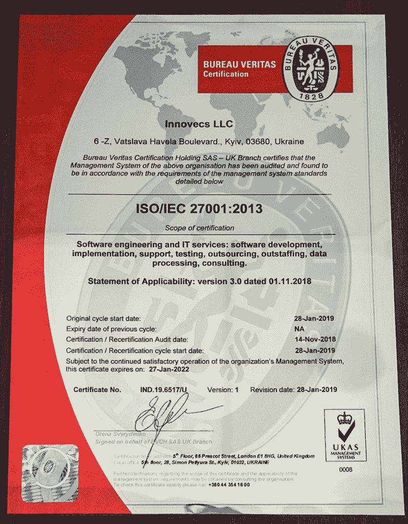 Certificate ISO:IEC 27001-2013