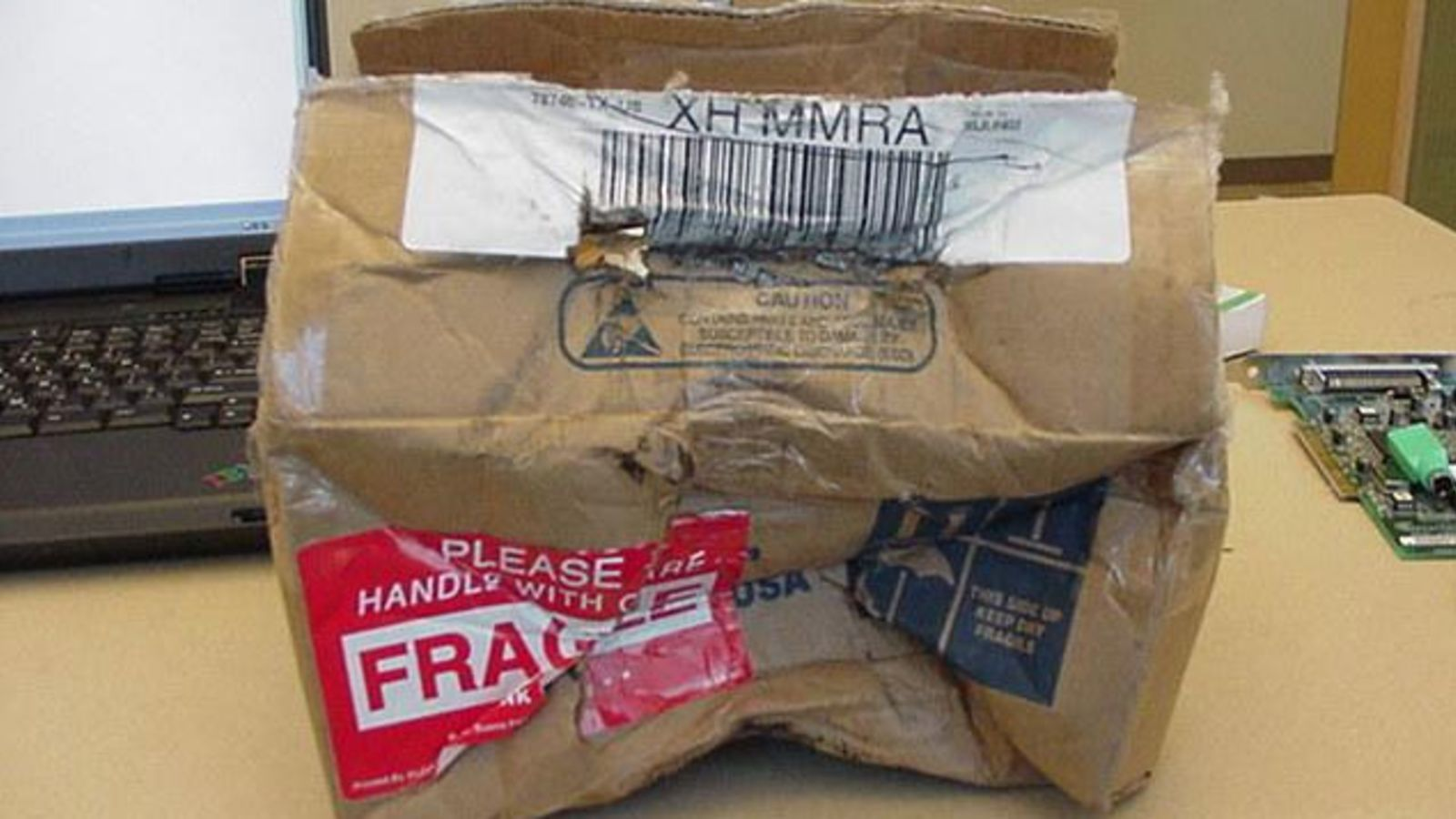 damaged package fragile delivery
